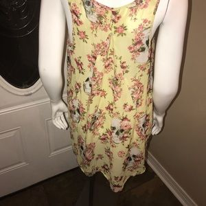 Tops - Large Skull & Rose Yellow high-Low Women's Top